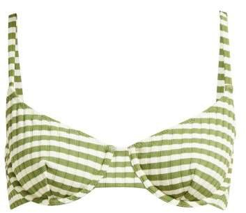 The Ginger Balcony Bikini Top - Womens - Green Stripe