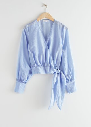 Voluminous Tie Wrap Blouse - Blue - Blouses - & Other Stories