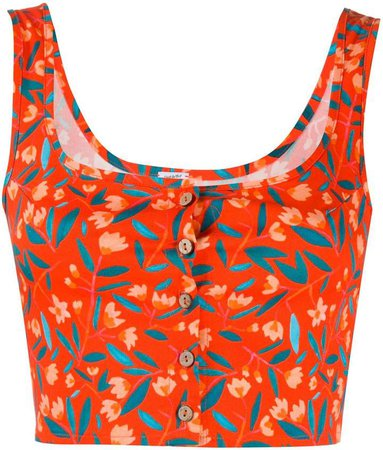 C'Est La V.It Floral Print Cropped Tank