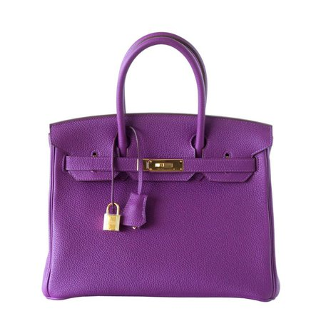 Hermes Birkin 30 Anemone Purple Togo Gold Hardware Exotic Beauty at 1stdibs
