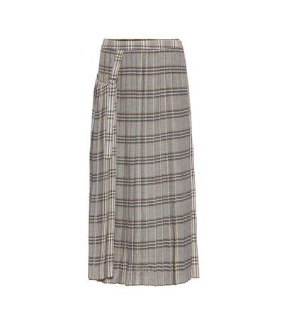 Beck pleated plaid wool skirt