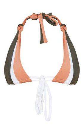 Khaki Tri Colour Triangle Bikini Top | PrettyLittleThing