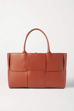 Small Intrecciato Leather Tote - Brown