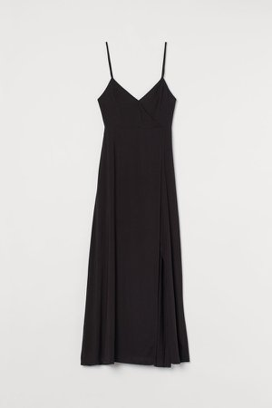 V-neck Maxi Dress - Black