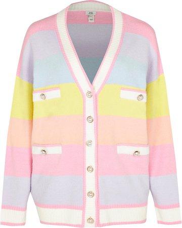Pink pastel stripe cardigan | River Island