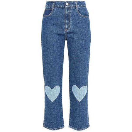 Stella Mccartney High Waist Cropped Heart Embroidery Jean