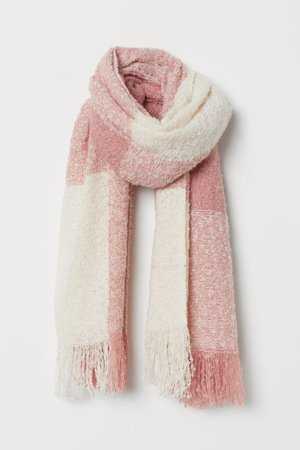 Soft Scarf - Dusty rose checked - Ladies | H&M US