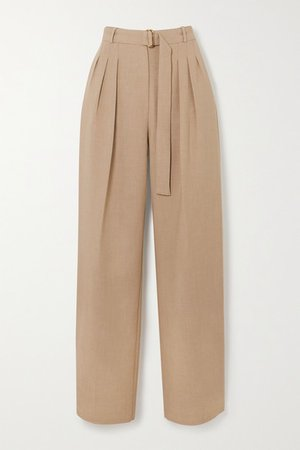 Belted Pleated Woven Pants - Sand