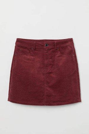 Short Corduroy Skirt - Red