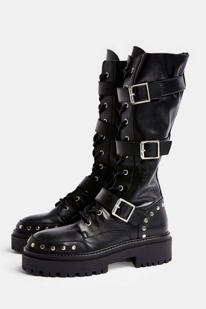 ASTEROID Black Leather Chunky Lace Up Calf Boots   Topshop