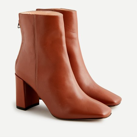 J.Crew: Leather Block-heel Ankle Boots For Women