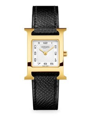 HERMÈS - Heure H 21MM Rose Goldplated & Leather Double-Wrap Strap Watch - saks.com