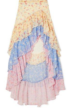 LoveShackFancy | Lisette asymmetric ruffled floral-print silk-georgette skirt | NET-A-PORTER.COM