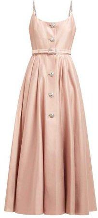 Alessandra Rich - Crystal Embellished Cotton Blend Midi Dress - Womens - Light Pink