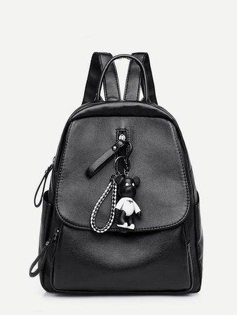 Keychain Embellished Flap Backpack