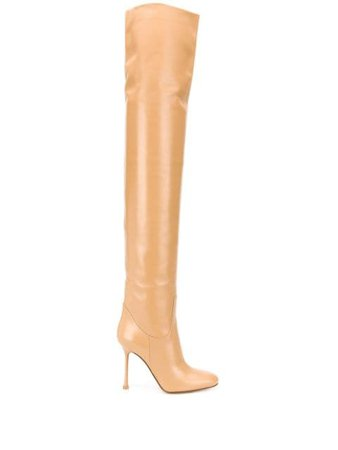 Francesco Russo thigh-high Leather Boots - Farfetch