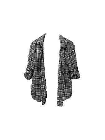 Grunge Grey flannel check plaid shirt