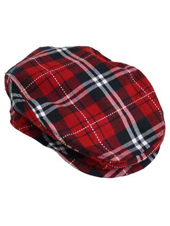 Red Plaid Snap Front Newsboy Golf Flat Ivy Cap Hat – Luxury Divas