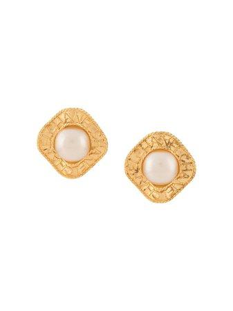 Pre-Owned 1997 Branded faux-pearl Earrings