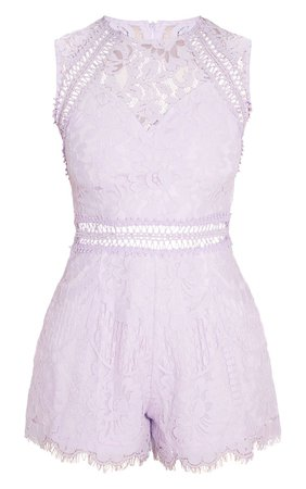 Lilac Lace Waist Trim Romper | PrettyLittleThing USA