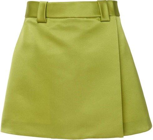 Satin Wrap-Effect Mini Skirt