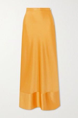 Mustard Isla satin maxi skirt   Paris Georgia   NET-A-PORTER