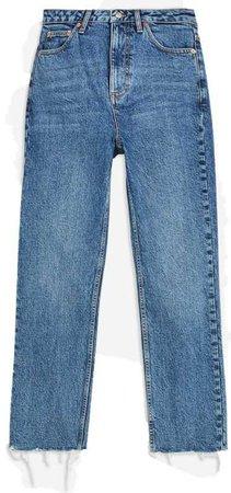 topshop mid stone raw hem straight jeans