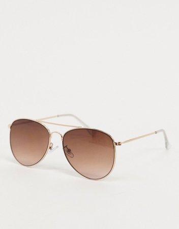 Topshop gold metal aviator sunglasses with brown gradient lens | ASOS