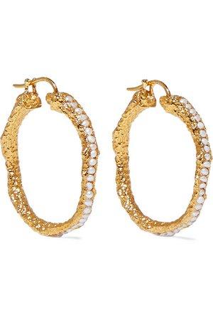 Pacharee | Medium gold-plated pearl hoop earrings | NET-A-PORTER.COM