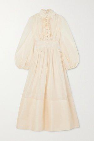 Cream Wild Botanica ruffled gathered linen and silk-blend gown   Zimmermann   NET-A-PORTER