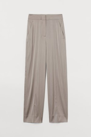 Dressy Silk-blend Pants - Brown
