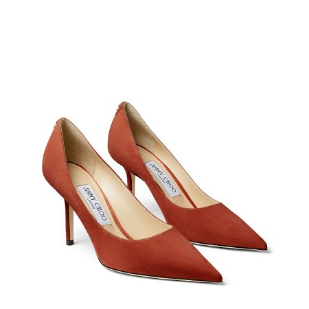 Rust Suede Pointy Toe Pumps with Jimmy Choo Button LOVE 85  Autumn Winter 19  JIMMY CHOO