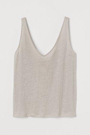Linen Tank Top - Light beige - Ladies   H&M US