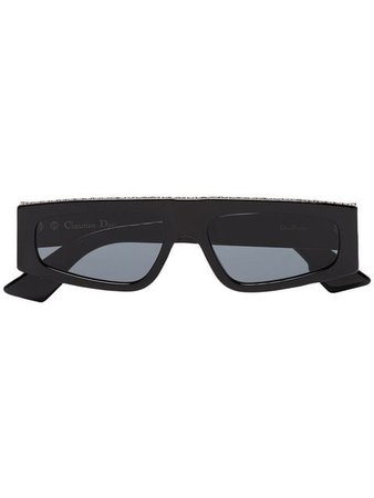 Dior Eyewear black embellished flat bridged sunglasses SS19 - Fast AU Delivery