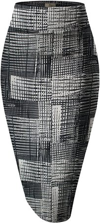HyBrid & Company Women's Elastic Waist Stretchy Office Pencil Skirt