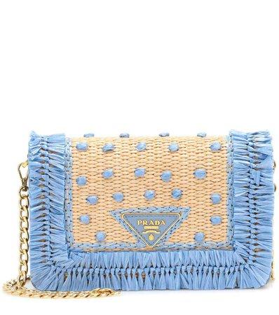 Leather And Raffia Shoulder Bag - Prada | mytheresa.com