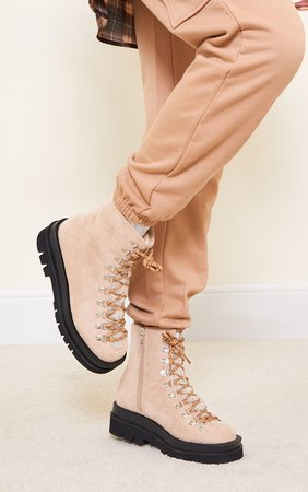 Sand Borg Tongue Hiker Lace Up Boots   Shoes   PrettyLittleThing USA
