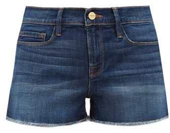 Le Cutoff Frayed Denim Shorts - Womens - Dark Denim