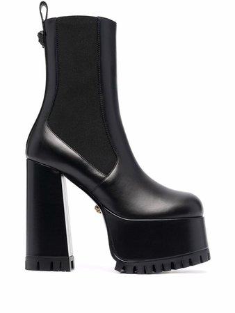 Versace Leather Platform Ankle Boots - Farfetch