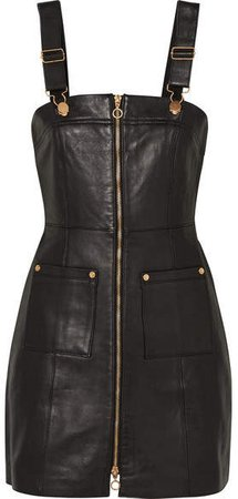 Cherry On Baby Leather Mini Dress - Black
