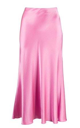long silk skirt pink