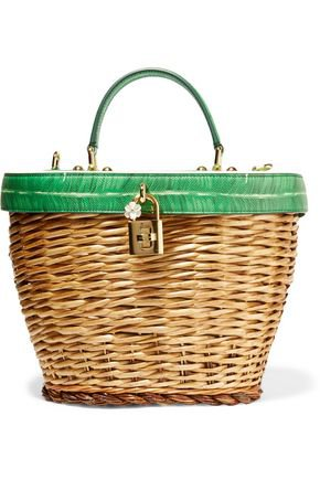 Wicker and printed textured-leather tote | DOLCE & GABBANA | Sale up to 70% off | THE OUTNET