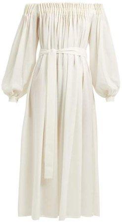 Otalora Off The Shoulder Wool Blend Maxi Dress - Womens - Ivory