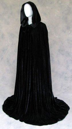 Black Velvet Lined Black Satin Renaissance Cloak Once Size Cape with Hood | eBay