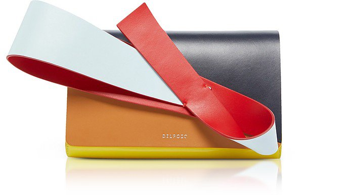 Delpozo Color Block Patent & Smooth Leather Orchid Clutch at FORZIERI