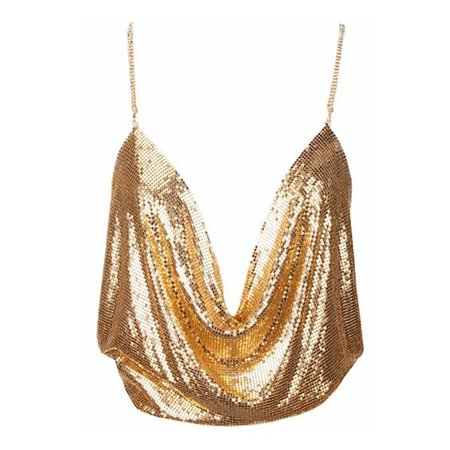 Deep Plunging Sequined Cropped Top