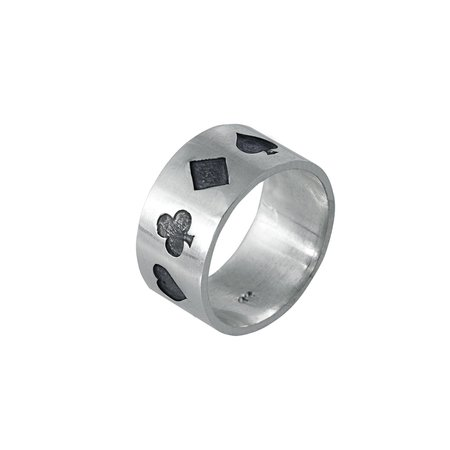 Poker Ring Oxidised in Sterling Silver | Edge Only jewelry Ireland