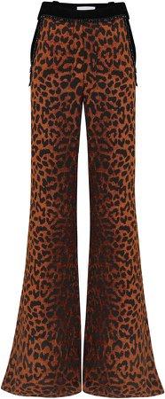Raisa Vanessa Leopard-Print Flared Crepe Pants