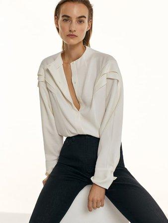 Crepe shirt with ruffled sleeves - Women - Massimo Dutti