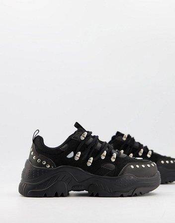 ASOS DESIGN Diazo studded chunky sneakers in black | ASOS